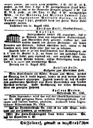 Anzeige Eröffnung Rheinischer Hof