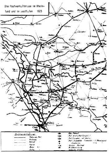 Die Postverhältnisse im Rheinland und Westfalen 1825